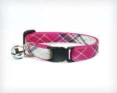 Cat Collar Strawberry Fields Forever Pink Cream & by MadeByCleo #madebycleo #catcollar #cats #cute #fall #autumn #winter #girlcat #plaid #preppy #kitten #kitty