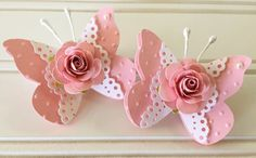 Articoli simili a Shabby Pink Handmade Paper Rose Flower Lace Pink Butterfly Embellishments Set of 2 su Etsy Paper Flowers Craft, Paper Crafts Origami, Paper Roses, Paper Doilies, Paper Butterflies, Butterfly Crafts, Flower Crafts, Pink Butterfly, Butterfly Mobile