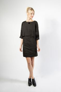 Bi-Level Navona Dress, Black by Apiece Apart | #kickpleat #apieceapart