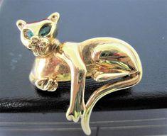 Kitty Cat Brooch, Gold Tone Metal,  Green Rhinestone Eyes, Perfect Lapel Pin