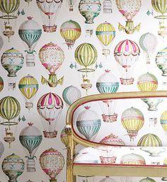 Hot Air Balloons fabric - Cowtan Tout Manuel Canovas Paris L'Envol Multicolore fabric - vintage hot air balloons (by the yard) nursery Wallpaper Online, Wall Wallpaper, Interior Wallpaper, Fashion Wallpaper, Room Interior, Chinoiserie, Hot Air Balloon, Air Ballon, Designers Guild