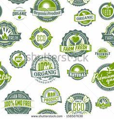 Seamless background pattern of eco green stamp label of bio healthy organic natural fresh farm food by Elena Kalistratova, via Shutterstock