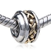 Pugster Stunning Golden Wheel Two Tone Plated Style Pandora Bead