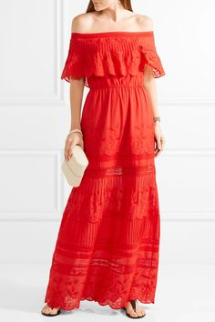 Alice Olivia - Pansy Off-the-shoulder Embroidered Cotton Maxi Dress - US