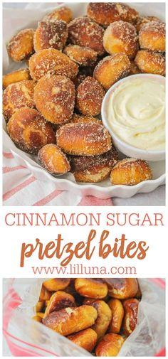 Homemade Soft Pretzels, Pretzels Recipe, Appetizer Recipes, Dessert Recipes, Desserts, Appetizers, Fun Recipes, Cinnamon Sugar Pretzels, Soft Cinnamon Pretzel Recipe