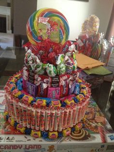 Candy+Cake+Centerpieces | Candy cake centerpiece for my daughter's Candyland ... | candyland pa ...