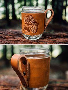 Hufflepuff Crest Mug Hugger -- Saddle Leather Mug Jacket -- Mason Jar Ball Jar Cover - Handmade in Portland Oregon Saddle Leather, Leather Key, Custom Leather, Leather Cover, Tan Leather, Leather Gifts, Leather Craft, Handmade Leather, Leather Bags