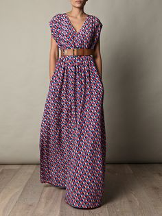geometric print maxi dress with pockets