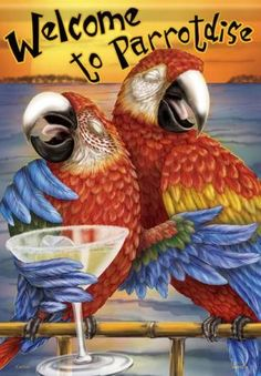 Getting to the Southernmost Point of the United States is Half the Fun as you travel aboard jet powered catamarans to the tropical island paradise, Key West Jimmy Buffett, All Birds, Beach Signs, Tropical Decor, Tropical Bathroom, Tropical Paradise, Illustrations, Key West, Bird Feathers