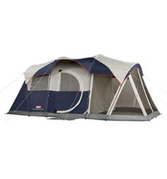 Coleman Elite WeatherMaster Tent - 17'x9' 6 Person Cabin Tent with LED Light System & Screenroom $295