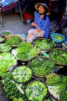 Greens for sale . Vietnam