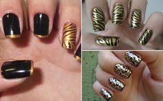 unhas-dourado-preto