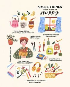 Annelies (anneliesdraws) photos and videos Simple things that make me happy drawing and illustration. The Words, Make Me Happy, Happy Life, Self Care Activities, Cute Illustration, Beauty Illustration, Art Illustrations, Character Illustration, Self Improvement