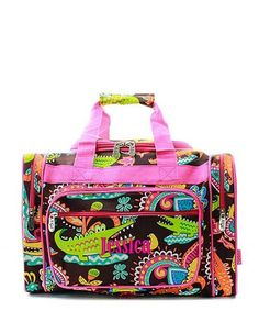 """Personalized Crocdile Hot Pink 17"""" Kids Duffle Bag"""