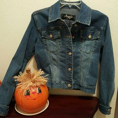 Authentic Angfu   Denim jacket Very stylish and comfortable, Angfu denim jacket. Double breast pocket.  Rise gold button derail. In excellent condition! Angfu Jackets & Coats Jean Jackets