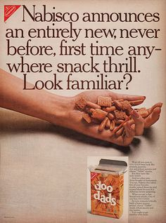 1966 Nabisco Doo Dads Snacks Ad ~ Entirely New, Vintage Food Ads (Other) Vintage Advertisements, Vintage Ads, Retro Ads, Vintage Food, Vintage Stuff, Wheat Thins, Corn Chips, Salty Snacks, Chex Mix