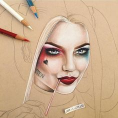Harley Quinn in a drawing process