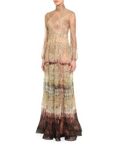 Angel Wings-Print Lace Gown by Valentino at Bergdorf Goodman.