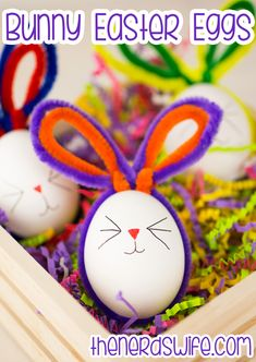 Bunny Easter Eggs Craft - Alternative option: poke hole in raw egg, blow yolk and whites from shell into glass to discard, carefully rinse, air dry, fill with confetti, tape hole.