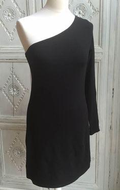 Next Black One Shoulder Mini Dress/Long T Size 12