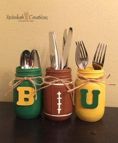 Baylor Mason Jars Baylor University Mason Jars by RebekahCreations // Great idea for a Baylor watch party or tailgate!