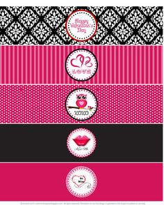 Assorted Valentine's Day Water Bottle Labels - Printable