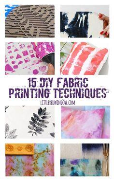 15 DIY Fabric Printing Techniques Diy Techniques and Supplies diy fabric painting techniques Watercolor Fabric, Fabric Painting, Diy Painting, Paint Fabric, Fabric Dyeing Techniques, Painting Techniques, Stoff Design, Fabric Stamping, Diy Artwork