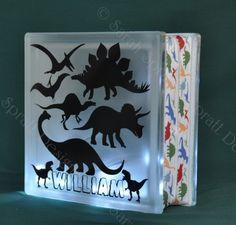 Dinosaurs Illuminated LED Glass Block by SprattsDesigns on Etsy