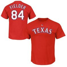 Prince Fielder Texas Rangers Majestic Official Name and Number T-Shirt - Red - $27.99