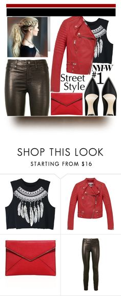 """""""NYFW Street Style"""" by winter-372 ❤ liked on Polyvore featuring WithChic, Andrew Marc, Rebecca Minkoff and J Brand"""