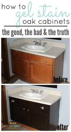 Have you ever wondered how to gel stain cabinets? Here's the truth about what the process looks like and tips to make it a success!