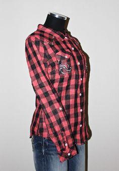 NEW MISS ME SHIRT S-M-L JMT948 RED/BLACK FLANEL W/PRINT RHINESTONES        #MISSMESHIRT #Shirt