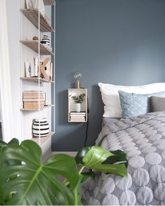 Loving this blue! Home And Deco, Beautiful Kitchens, Shelves, Ceiling Lights, Instagram Posts, Inspiration, Bedrooms, Home Decor, Shelving Brackets