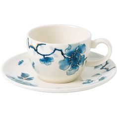 Wedgwood Blue Bird Espresso Cup & Saucer ($29) ❤ liked on Polyvore featuring home, kitchen & dining, drinkware, blue, wedgwood cup, wedgwood, blue cups, wedgwood cup and saucer and espresso cups