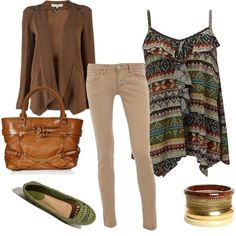 Love the flow-y top and cardigan; the bag and shoes are nice (love the green).  Not a fan of bangle bracelets unless they flex.  Nice bag.  For ballet flats (which I love to wear) I usually wear the kind with an elastic back because of my narrow heel.