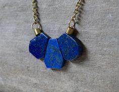 Boho Lapis Lazuli necklace long brass boho by KristineRagusDesigns, $36.00