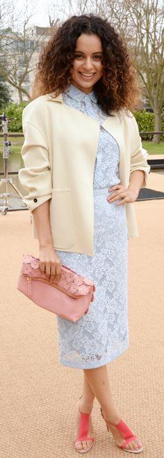 Indian actress Kangana Ranaut wearing Burberry at the Burberry Prorsum Womenswear A/W14 Show in London