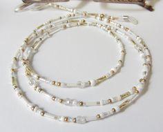 Brautschmuck - Brillenkette  mit Kistallen  weiß-gold - ein Designerstück von soschoen bei DaWanda