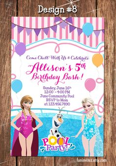 Frozen - Anna Elsa Olaf in Summer - CUSTOM Pool Swim Bathing Birthday Party Photo Invitations - Printable