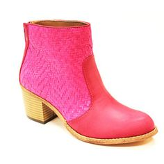 Raffia Ankle Boot Pink, $52, now featured on Fab.