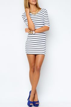Striped 3/4 Sleeve Knit Dress + blue pump heels