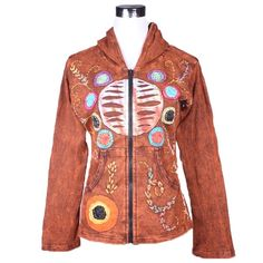 Embrodiery designed jacket Want to make a statement? This classic ethnic wholesale jacket certainly does. With its striking circular applique design in the centre of the torso surrounded by smaller colourful circles and embroidered floral patterns this is truly a statement piece.  Unit Price: US$17.76