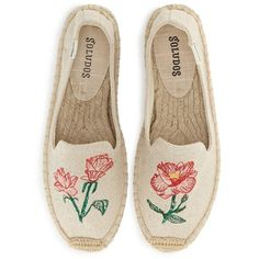 Women's Soludos Floral Embroidered Espadrille Slip-On ($65) ❤ liked on Polyvore featuring shoes, flats, sand, soludos, embroidered shoes, sand shoes, slip-on shoes and slip on espadrilles