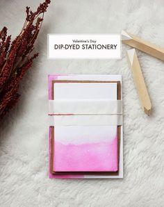 DIY Dip Dyed Valentine's Day Stationery