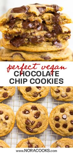 Tried and true, these are the most perfect vegan chocolate chip cookies ever! Easy to make in 1 bowl. Tried and true, these are the most perfect vegan chocolate chip cookies ever! Easy to make in 1 bowl. Vegan Mug Cake, Vegan Chocolate Chip Cookie Recipe, Homemade Chocolate, Chocolate Recipes, Cookies Vegan, Vegan Chocolate Chips, Health Cookies, Vegan Chips, Vegan Christmas Cookies