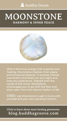 Guide to Healing Gemstones Moonstone - Harmony and Inner PeaceMoonstone - Harmony and Inner Peace Crystal Healing Stones, Crystal Magic, Stones And Crystals, Quartz Crystal, Crystal Grid, Gem Stones, Clear Quartz, Minerals And Gemstones, Crystals Minerals