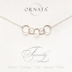 """""""Family of Five"""" Personalized Sterling Silver Necklace   Two Adults & Three Children"""