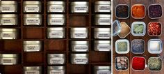printer's tray spice storage Look! Beautiful (and Cheap) Spice Storage Solution Spice Storage, Spice Organization, Kitchen Storage, Spice Drawer, Rack Solutions, Diy Kit, Little Kitchen, Spice Jars, Spice Containers