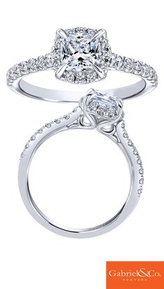 Adore the one you love with this gorgeous 14k White Gold Diamond Halo Engagement Ring from Gabriel & Co. This stunning piece has a lovely skinny band with diamonds that hold together a beautiful center stone and halo! Propose with this perfect piece.