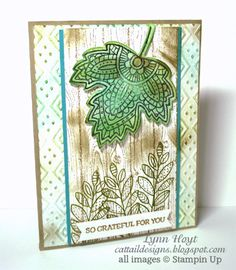 Cattail Designs: Stampin Up PP color challenge #257, Sneak Peek for 2015 Holiday Catalog Leaflets Framelits, Lighthearted Leaves, Hardwood Background, Boho Chic embossing folder